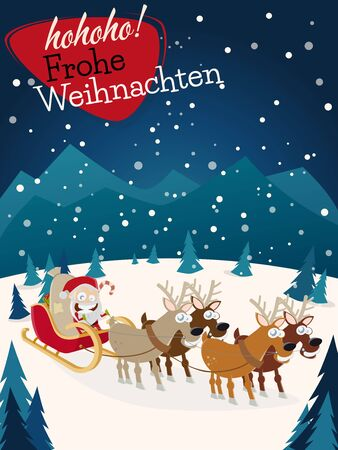 German christmas greetings frohe weihnachten with santa claus german christmas greetings frohe weihnachten with santa claus and reindeers stock vector 50678594 m4hsunfo