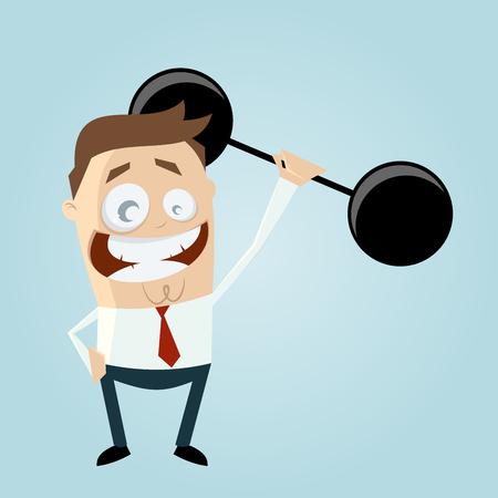 pesas: divertido empresario es el levantamiento de pesas