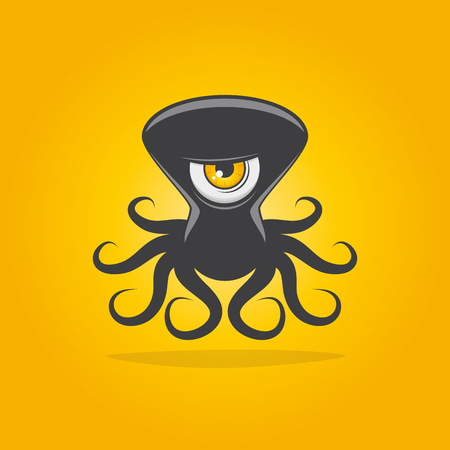 black octopus: funny alien octopus