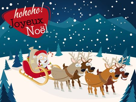 joyeux: french christmas greetings Joyeux Noel with santa claus and reindeers