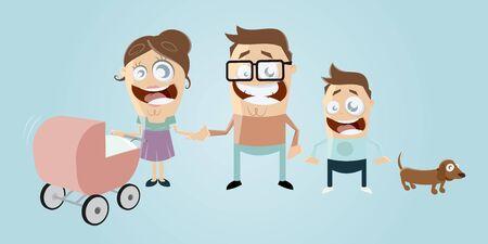 paternity: funny cartoon family with dog Illustration
