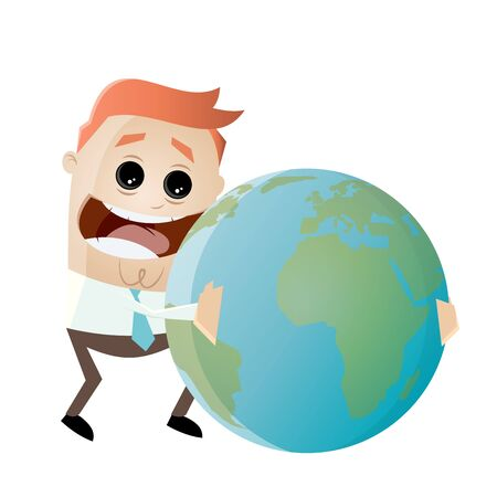 passion  ecology: businessman is hugging the earth Illustration