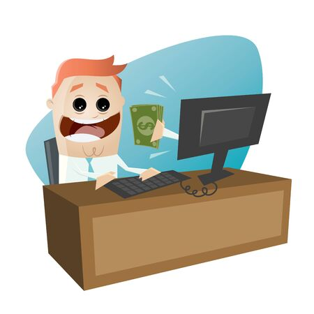 earning: businessman is earning money on computer