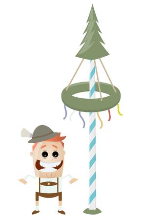 有趣的巴伐利亚人用maypole