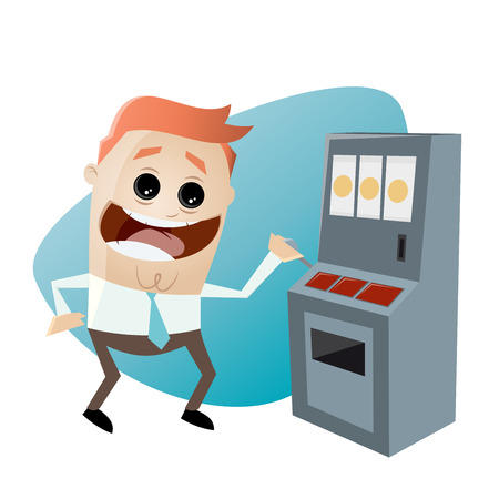 retro cartoon man with slot machine