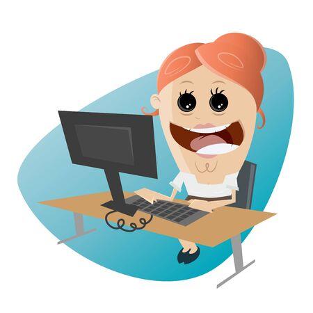 grappige cartoon kantoor vrouw