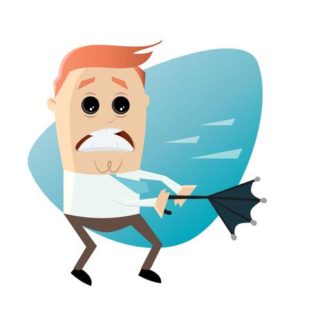 stormy: cartoon man with umbrella on stormy weather