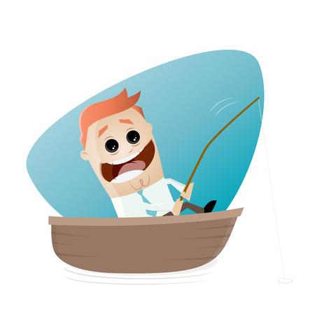 pesca: divertido empresario en un barco con la barra de pesca tiene una gran captura