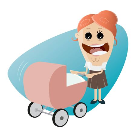 baby and mother: happy mother with pram, baby carriage, baby buggy