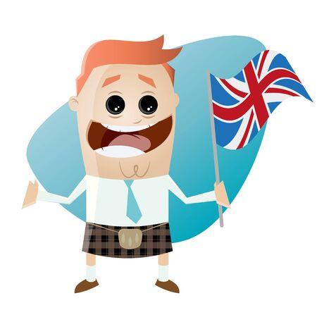 funny cartoon businessman in kilt with union jack