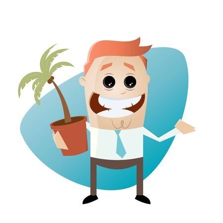 funny: funny cartoon man with houseplant Illustration
