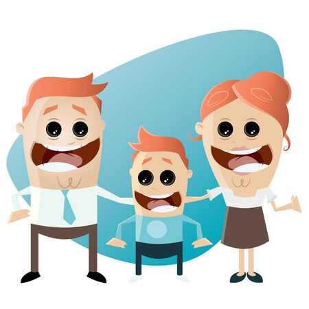 son of man: funny cartoon family Illustration