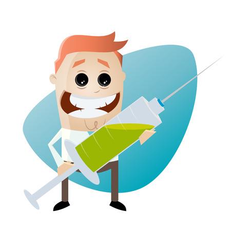 vacunación: hombre divertido de dibujos animados con la jeringuilla grande