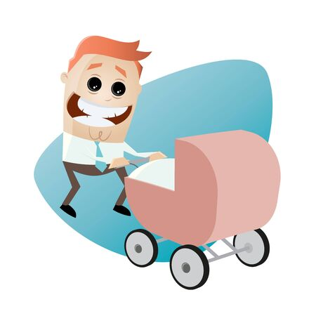fatherhood: happy father with pram, baby carriage, baby buggy