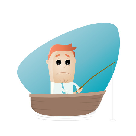 skeptical: sad cartoon man sitting in a boat and waiting for a catch