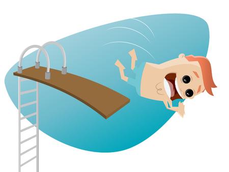 springboard: hombre divertido de la historieta con trampolín