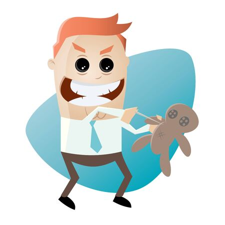 bewitched: cartoon man with voodoo doll Illustration