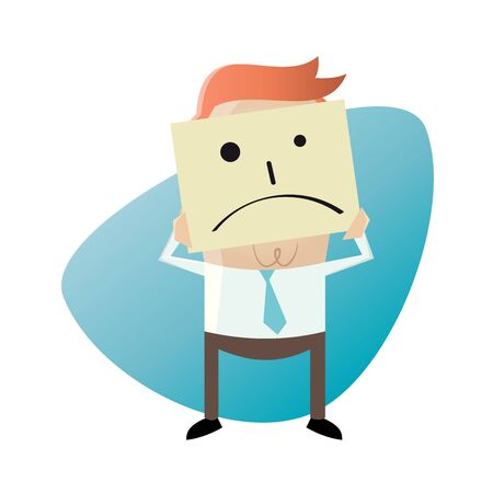 sad men: businessman holding a sad face sketch