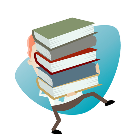 lift and carry: businessman carrying a stack of books