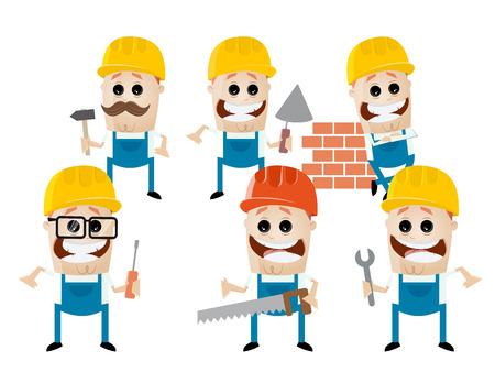 work together: funny cartoon construction worker team Illustration