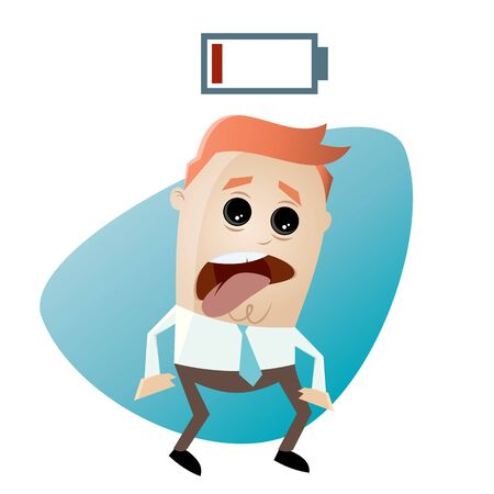 wasted: cartoon man with empty battery Illustration