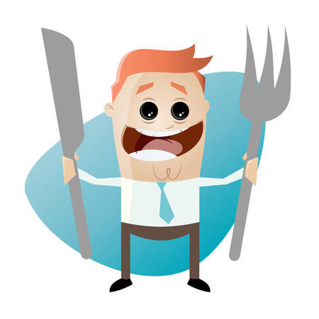 hungry: hungry cartoon man with fork and knife