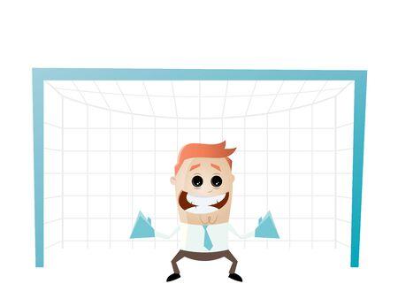 goalkeeper: funny businessman is a goalkeeper