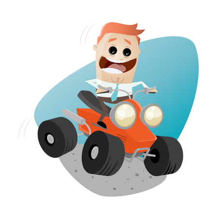 quad: funny businessman is riding a quad bike Illustration