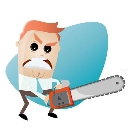 chainsaw: angry man with chainsaw Illustration