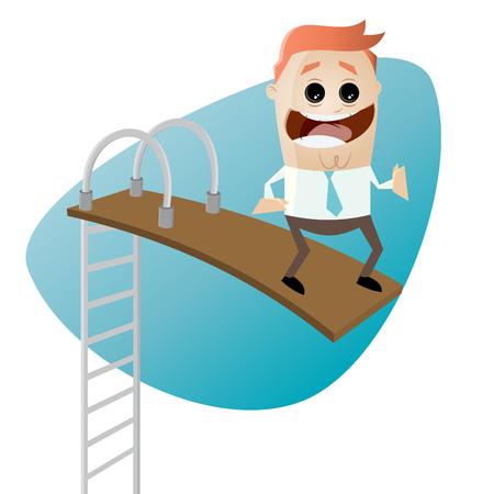 springboard: funny businessman on springboard Vectores
