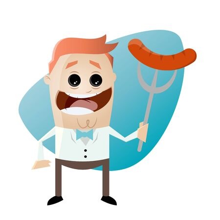 sausages: cartoon man with sausage on a fork Illustration