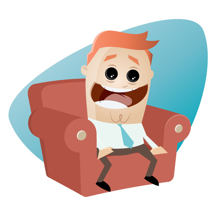 watching movie: funny cartoon man on couch is excited