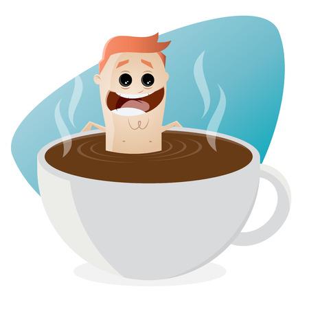 bathing: funny cartoon man bathing in a cup of coffee Illustration
