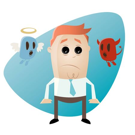 sad cartoon: funny cartoon businessman with angel and devil Illustration