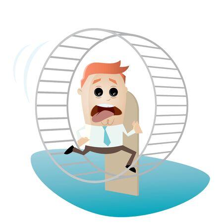 tiring: running businessman is running in hamster wheel