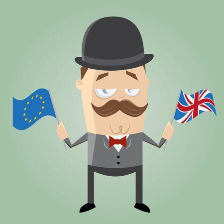 british man: british man with european flag and union jack