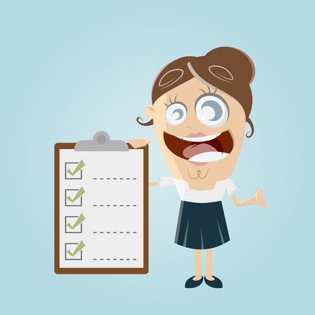 grappig zakenvrouw met checklist Vector Illustratie