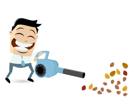 blower: funny cartoon man with leaf blower