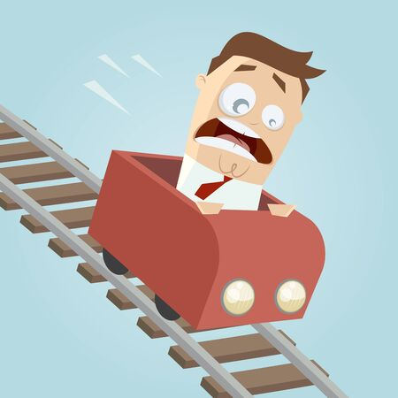 rollercoaster: terrified businessman in a roller coaster