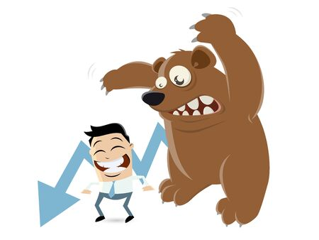 unworried: funny recession cartoon with man and bear