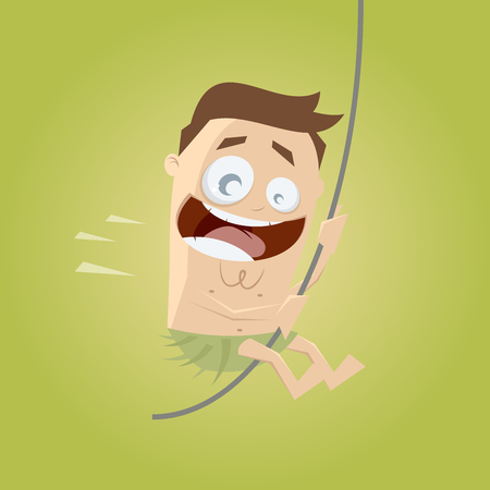 moving activity: funny cartoon man swinging with a liana Illustration