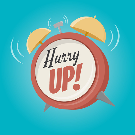 hurry: hurry up alarm clock in retro cartoon style