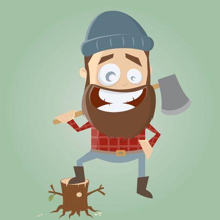 lumberman: funny cartoon lumberjack
