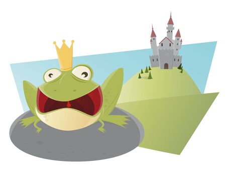 croaking: croaking cartoon frog king with mouth wide open