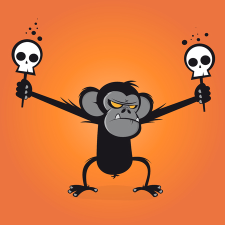 chimp: angry chimp is holding skulls on a stick