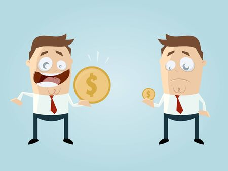 salaries: funny businessmen comparing their income Illustration
