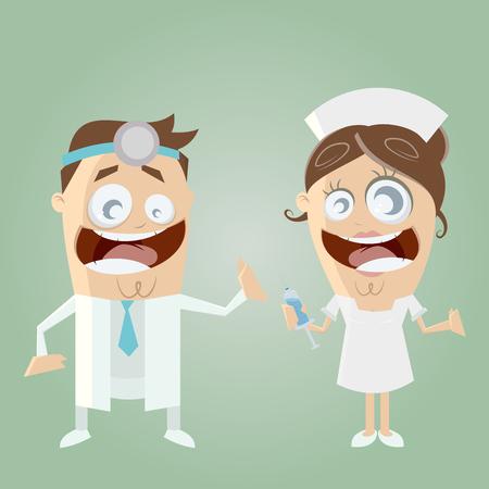 nurse injection: funny cartoon doctor and nurse