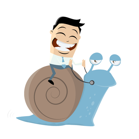 asian businessman: funny businessman riding a slow snail Illustration