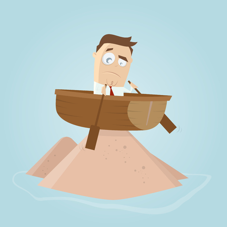 skeptical: funny businessman is running aground