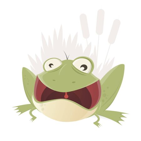 croaking: croaking cartoon frog with mouth wide open Illustration